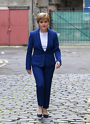 Pictured: Nicola Sturgeon arrives at the New Town Theatre for the start of the show.<br /> <br /> First Minister Nicola Sturgeon spoke with Graham Spiers as part of the 'in conversation with…' series of shows at the 2019 Fringe.<br /> <br /> © Dave Johnston / EEm