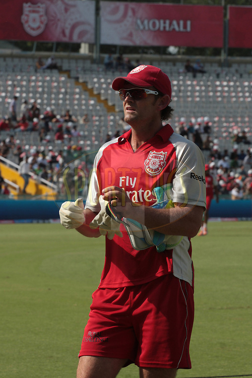 Adam Gilchrist, captain Kings XI Punjab during match 9 of the Indian Premier League ( IPL ) Season 4 between the Kings XI Punjab and the Chennai Super Kings held at the PCA stadium in Mohali, Chandigarh, India on the 13th April 2011..Photo by Anil Dayal/BCCI/SPORTZPICS