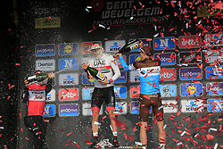 Alexander Kristoff (NOR) UAE Team Emirates wins with John Degenkolb (GER) Trek-Segafredo 2nd and Oliver Naesen (BEL) AG2R La Mondiale in 3rd place at the end of the 2019 Gent-Wevelgem in Flanders Fields running 252km from Deinze to Wevelgem, Belgium. 31st March 2019.<br /> Picture: Eoin Clarke | Cyclefile<br /> <br /> All photos usage must carry mandatory copyright credit (© Cyclefile | Eoin Clarke)