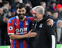 Football - 2019 / 2020 Premier League - Crystal Palace vs. West Ham United<br /> <br /> Crystal Palace Manager, Roy Hodgson celebrates their win with, James Tomkins, at Selhurst Park.<br /> <br /> COLORSPORT/ANDREW COWIE