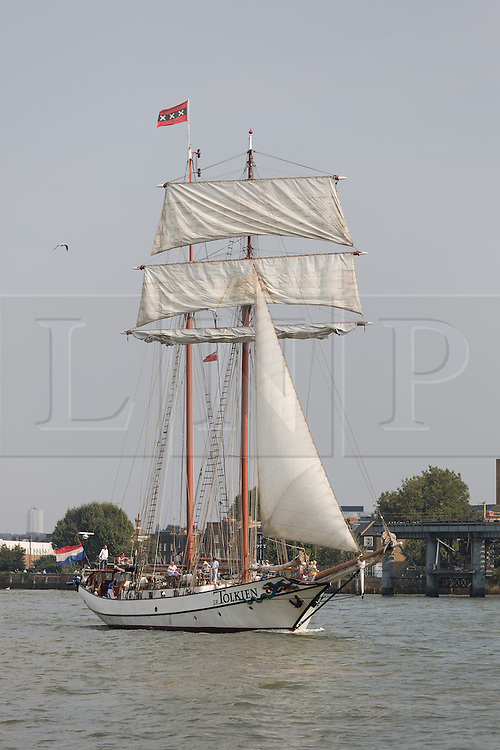 © Licensed to London News Pictures. 15/06/2016. LONDON, UK.  The historic tall ship, J R Tolkien is seen on the River Thames in Greenwich on the River Thames. The Sail Royal Greenwich Tall Ship Festival runs until this Sunday, 18th Septmeber.  Photo credit: Vickie Flores/LNP