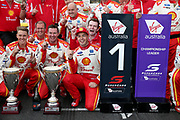 Scott McLaughlin (Shell DJR Penske Ford) celebrates the win. Winton Truck Assist SuperSprint -2019 Virgin Australia Supercars Championship Round 6. Winton Motor Raceway, Victoria on Sunday 26 May 2019. Photo Clay Cross / photosport.nz