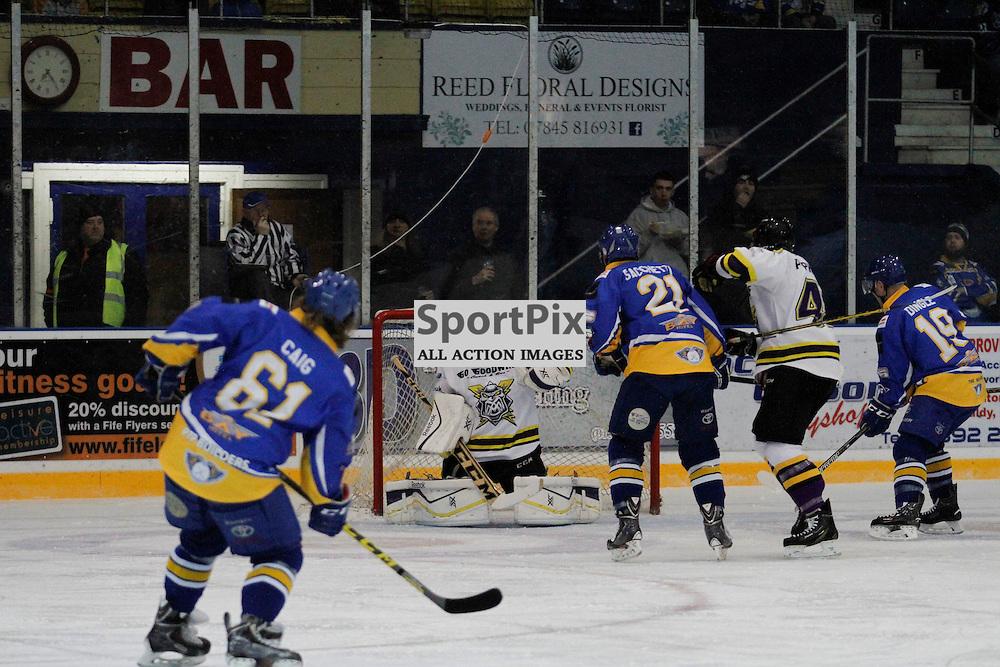 Fife Flyers V Manchester Storm, Elite Ice Hockey League, 2 January 2016, Fife Ice ArenaFife Flyers V Manchester Storm, Elite Ice Hockey League, 2 January 2016, Fife Ice Arena<br /> <br /> FIFE FLYERS #61 TJ CAIG SCORES AGAINST MANCHESTER STORM NETMINDER #40 ZANE KALEMBA