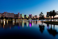 Lake Eola in the heart of downtown Orlando, Florida at sunset.