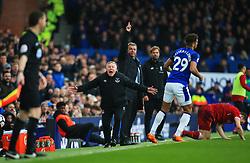Everton manager Sam Allardyce and coach Sammy Lee appeal to the linesman - Mandatory by-line: Matt McNulty/JMP - 07/04/2018 - FOOTBALL - Goodison Park - Liverpool, England - Everton v Liverpool - Premier League