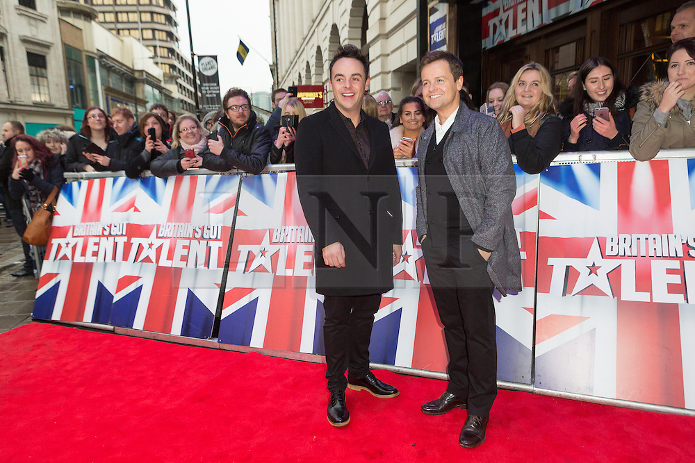 """© Licensed to London News Pictures. 22/01/2016. London, UK. Anthony McPartin and Declan Donnelly arrives at The Dominion Theatre in London for the """"Britain's Got Talent"""" auditions. Photo credit : Vickie Flores/LNP"""