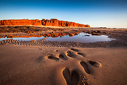 Late afternoon footprints in the sand at James Price Point north of Broome.