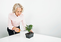 Senior businesswoman pruning plant at desk in office