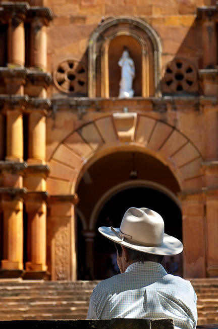 Colombia, Barichara, 18th Century Cathedral de la Concepcion, Spanish Colonial, Town Declared A National Monument, Campesino With Hat, South America