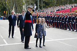 12.10.2015, Madrid, Madrid, ESP, Spanischer Nationalfeiertag, Royals, im Bild King Felipe VI of Spain, Princess Sofia of Spain, Princess Leonor of Spain and Queen Letizia of Spain // during the celebration of the Spanish National Day military parade in Madrid in Madrid, Spain on 2015/10/12. EXPA Pictures © 2015, PhotoCredit: EXPA/ Alterphotos/ Victor Blanco<br /> <br /> *****ATTENTION - OUT of ESP, SUI*****