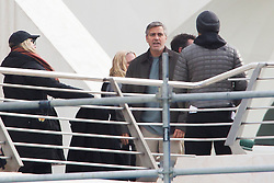 Actors George Clooney and Hugh Laurie during filming in Valencia, Spain, Tuesday, 21st January 2014. Picture by DyD Fotografos / i-Images<br /> SPAIN OUT