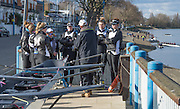 Putney. LONDON. GREAT BRITAIN. Molesey BC, women's crew get their final instruction from the coach. Pre Boat race Fixture, Oxford University Women's Boat Club vs Molesey Boat Club, over the Championship Course, Putney to Mortlake.<br /> <br /> Sunday  28.02.2016<br /> <br /> [Mandatory Credit; Peter SPURRIER/Intersport Images]