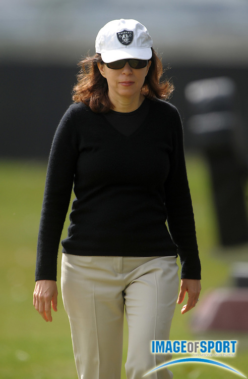 May 26, 2010; Alameda, CA, USA; Oakland Raiders chief executive officer Amy Trask at organized team activities at the Oakland Raiders practice facility.