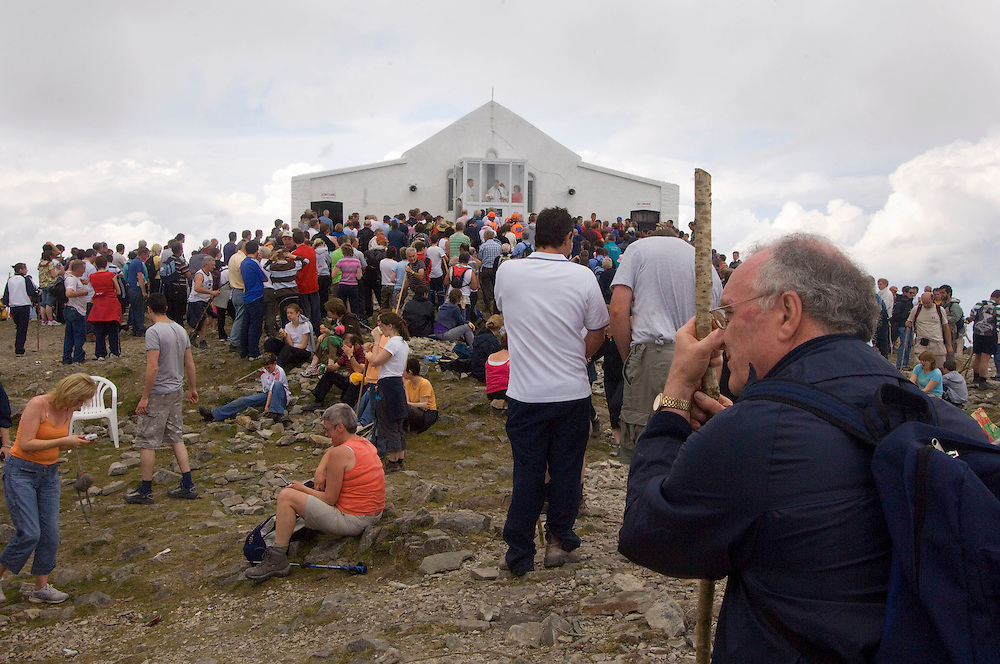 RTE made one of it highest broadcast ever on Croagh Patrick when they televisied the Mass for the first time. Pic: Michael Mc Laughlin Thousands of Pilgrims make their way up and down Croagh Patrick, Irelands Holy Mountain on the annual the pilgrimage day which fall on the second weekend of July, Murrisk Co. Mayo. Pic: Michael Mc Laughlin Thousands of Pilgrims make their way up and down Croagh Patrick, Irelands Holy Mountain on the annual the pilgrimage day which fall on the second weekend of July, Murrisk Co. Mayo. Pic: Michael Mc Laughlin