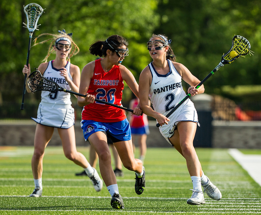 Maddie Miller (2) of Pittsford vs. Hannah Shin (20) of Fairport during a high school game between PIttsford and Fairport at St. John Fisher College on May 31, 2016 in Pittsford, New York.