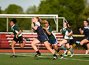 Belmont's Rachel Iler-Keniston runs the ball during the game against the Needham High team at Harris Field in Belmont, May 23, 2017.   [Wicked Local Photo/James Jesson]