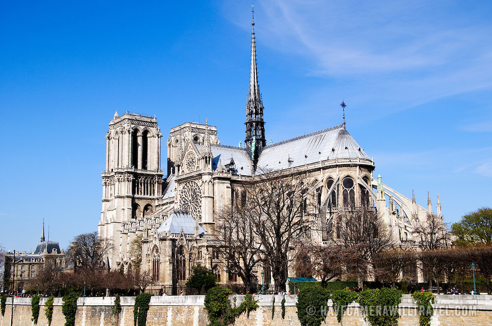 Exterior of Notre Dame Cathedral on a clear spring day