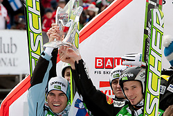 Third placed team of Slovenia: Jernej Damjan, Jurij Tepes, Peter Prevc and Robert Kranjec celebrate at flower ceremony during Flying Hill Team at 3rd day of FIS Ski Jumping World Cup Finals Planica 2011, on March 19, 2011, Planica, Slovenia. (Photo by Vid Ponikvar / Sportida)