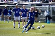 USA forward Megan Rapinoe (15) warms up before an international friendly soccer game against Korea Republic in Chicago, Sunday, Oct. 6, 2019, in Chicago. The team splayed to a 1-1 tie. (Max Siker/Image of Sport)
