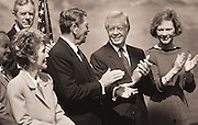 Presidents Jimmy Carter and Ronald Reagan and their wives<br /> at the dedication of the Carter Presidential Library.