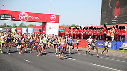 Sir Mo Farah in action at the start of the Marathon as Queen Elizabeth II starts the marathon via video link from Windsor Castle during the 2018 Virgin Money London Marathon.