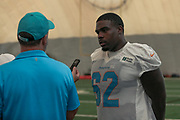 Miami Dolphins guard Shaq Calhoun (62) speaks with reporters after indoor practice during training camp at the Baptist Health Training Facility at Nova Southeastern University, Friday, August 2, 2019, in Davie, Fla. (Kim Hukari/Image of Sport)