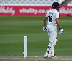 Durham's Chris MacLeod chops on to his own stumps - Photo mandatory by-line: Robbie Stephenson/JMP - Mobile: 07966 386802 - 03/05/2015 - SPORT - Football - London - Lords  - Middlesex CCC v Durham CCC - County Championship Division One