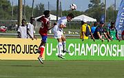 Team USA forward Rafael Jauregui (11) heads the ball during a CONCACAF boys under-15 championship soccer game, Sunday, Aug. 4, 2019, in Bradenton, Fla. The USA defeated Haiti 2-0 (Kim Hukari/Image of Sport)