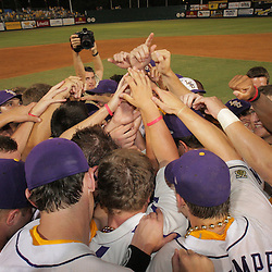 09 June 2008:  LSU Tiger players huddle up by the pitchers mound after their team's 21-7 victory over the UC Irvine Anteaters in game three of the NCAA Baseball Baton Rouge Super Regional Alex Box Stadium in Baton Rouge, LA. The LSU Tigers with the win advance to the College Baseball World Series in Omaha, Nebraska..
