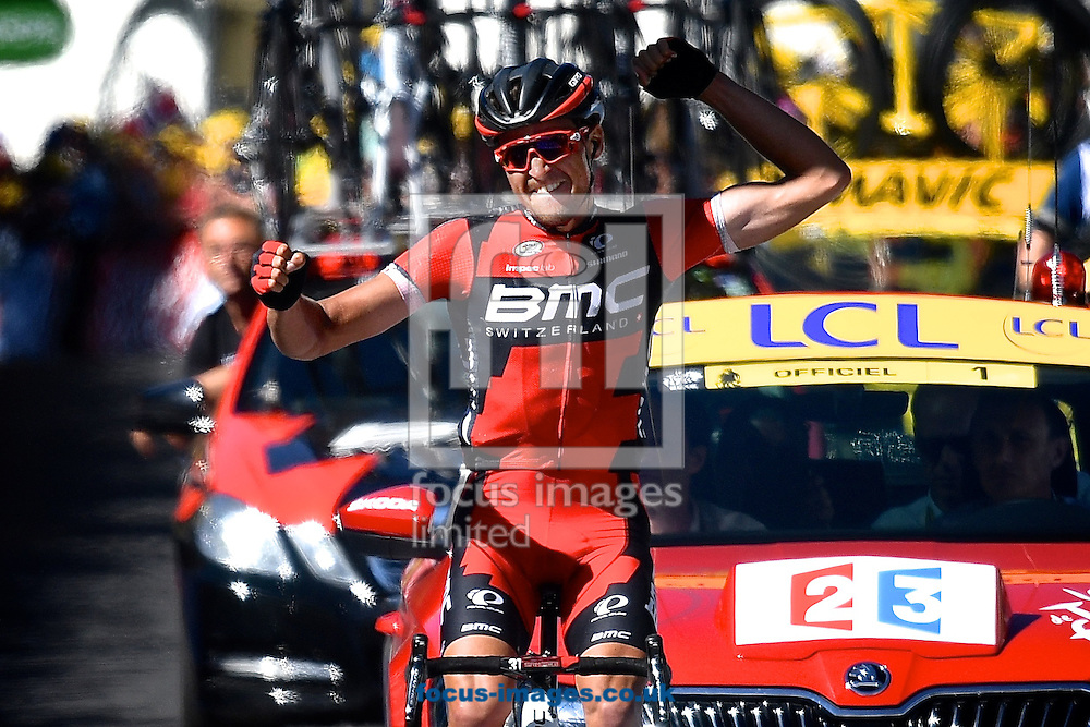 Greg Van Avermaet of Team BMC wins stage 5 of the Tour de France at La Lioran, France.<br /> Picture by Focus Images/Focus Images Ltd 07814 482222<br /> 06/07/2016
