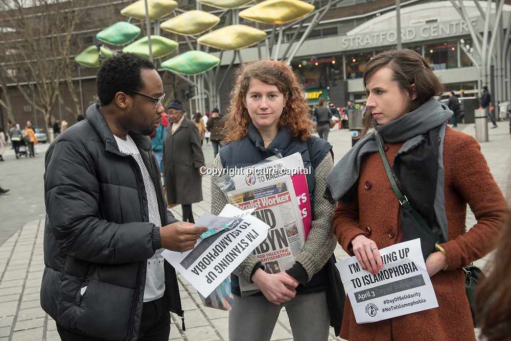 Newham Muslim women's Association - Sisters4Sisters and Stand Up to Racism Newham stand in solidarity with the Muslim community of the outrageous 'Punish a Muslim Day' letter recently sent to homes across the country is yet another example of anti-Muslim hate crime which has doubled over the last year on the 3rd March 2018 at Stratford station, London, UK.