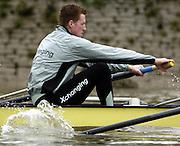 2005 Boat Race, Pre race fixture, Putney, London, ENGLAND. Cambridge University BC v GER M8+. Putney to Chiswick..CUBC - Bow Luke walton, 2, Tom Edwards, 3. Henry Adams, 4. Steffen Buschbacher, 5. Sebastian Schulte, 6. Matthias Kleinz, 7. Tom James, Stroke Bernd Heidicker, cox Peter Rudge...GER M8+ - Bow, Jocchen Urban, Sebastian Thormann, Stefan Koltxk, Ulf Siemes, Thorsten Englemann, Jan-Martin Broer, Jan Tebrugge, Andreas Penkner..Photo  Peter Spurrier. .email images@intersport-images...[Mandatory Credit Peter Spurrier/ Intersport Images]