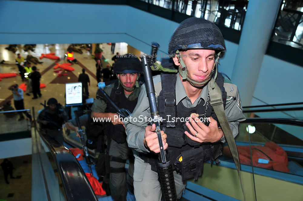 Israel, Haifa Israeli security forces and rescue personnel attend an exercise simulating a terror attack at the Haifa Mall November 3, 2009. Israeli soldiers combing the building