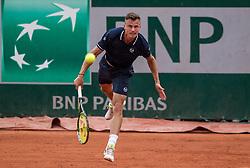 May 29, 2018 - Paris, France - Márton Fucsovics of Hungary serves against Vasek Pospisil of Canada during the first round at Roland Garros Grand Slam Tournament - Day 3 on May 29, 2018 in Paris, France. (Credit Image: © Robert Szaniszlo/NurPhoto via ZUMA Press)