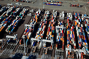 Nederland, Rotterdam, Maasvlakte, 20-03-2009; Europahaven, ECT Delta Terminal, container terminal met geautomatiseerde portaalkranen en containers van onder andere Hundai, Mol, Maersk Sealand.  ECT Delta Terminal, container terminal with automated stacking cranes (ASC). Containers belong a.o. to Hundai, Mol, Maersk Sealand..Swart collectie, luchtfoto (toeslag); Swart Collection, aerial photo (additional fee required); .foto Siebe Swart / photo Siebe Swart