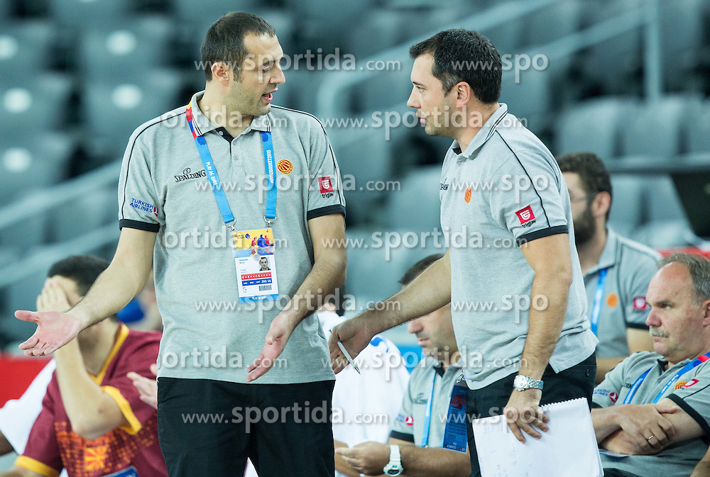 Marijan Srbinovski and Aleksandar Jonchevski of Macedonia during basketball match between Netherlands and Macedonia at Day 2 in Group C of FIBA Europe Eurobasket 2015, on September 6, 2015, in Arena Zagreb, Croatia. Photo by Vid Ponikvar / Sportida
