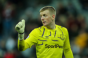 Jordan Pickford (#1) of Everton acknowledges instructions from the Everton bench during the Premier League match between Newcastle United and Everton at St. James's Park, Newcastle, England on 28 December 2019.