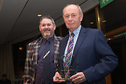 09/02/2017 - Dundee FC Hall of fame committee member Kenny Ross presents David Thomson with his grandfather David 'Napper Thomson's Heitage Award at Dundee FC Hall of fame dinner at the Invercarse Hotel, Dundee  Picture by David Young -