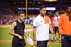 ST. LOUIS, USA - Monday, August 1, 2016: Liverpool's Philippe Coutinho Correia and Emre Can after a pre-season friendly game against AS Roma on day twelve of the club's USA Pre-season Tour at the Busch Stadium. (Pic by David Rawcliffe/Propaganda)