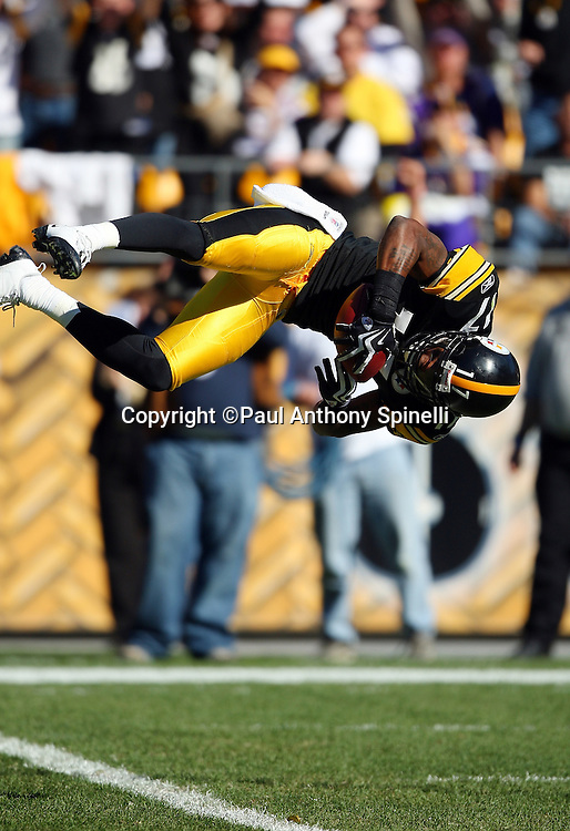 Pittsburgh Steelers wide receiver Mike Wallace (17) catches a 40 yard pass and does a flip into the end zone as he scores a touchdown that gives the Steelers a 10-7 second quarter lead NFL football game against the Minnesota Vikings, October 25, 2009 in Pittsburgh, Pennsylvania. The Steelers won the game 27-17. (©Paul Anthony Spinelli)