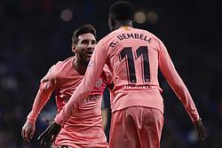December 8, 2018 - Barcelona, Catalonia, Spain - December 8, 2018 - Cornella- El Prat, Barcelona, Spain - LaLiga Santander- RCD Espanyol v FC Barcelona; Lionel Messi and Ousmane DembŽlŽ of FC Barcelona celebrates scoring his side's 2nd goal. (Credit Image: © Marc Dominguez/ZUMA Wire)