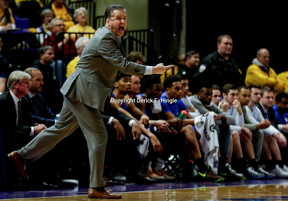 Jan 3, 2018; Baton Rouge, LA, USA; Kentucky Wildcats head coach John Calipari reacts during the first half against the LSU Tigers at the Pete Maravich Assembly Center. Mandatory Credit: Derick E. Hingle-USA TODAY Sports