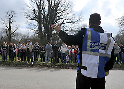 ©London News pictures. 22/03/11.  The Police Incident Commander talks to the assembled volunteers. Locals and friends of Sian O'Callaghan help Police in the search in Savernake Wood, Wiltshire, today. Detectives continue investigating the disappearance of office administrator Sian O'Callaghan. The 22-year-old disappeared after leaving Suju nightclub in Swindon at about 2.50am on Saturday to walk the half-mile home to the flat she shared with her boyfriend Kevin Reape. Picture Credit should read Stephen Simpson/LNP