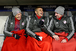20.02.2018, Allianz Arena, Muenchen, GER, UEFA CL, FC Bayern Muenchen vs Besiktas Istanbul, Achtelfinale, Hinspiel, im Bild Arjen Robben (FC Bayern Muenchen #10) Rafinha (FC Bayern Muenchen #13) Franck Ribery (FC Bayern Muenchen #7) auf der Bank // during the UEFA Champions League round of 16, 1st Leg Match match between FC Bayern Muenchen and Besiktas Istanbul at the Allianz Arena in Muenchen, Germany on 2018/02/20. EXPA Pictures © 2018, PhotoCredit: EXPA/ Eibner-Pressefoto/ Langer<br /> <br /> *****ATTENTION - OUT of GER*****
