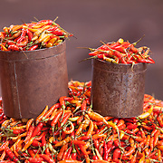 Hot chilies on display at an outdoor vegtable market in Indonesia