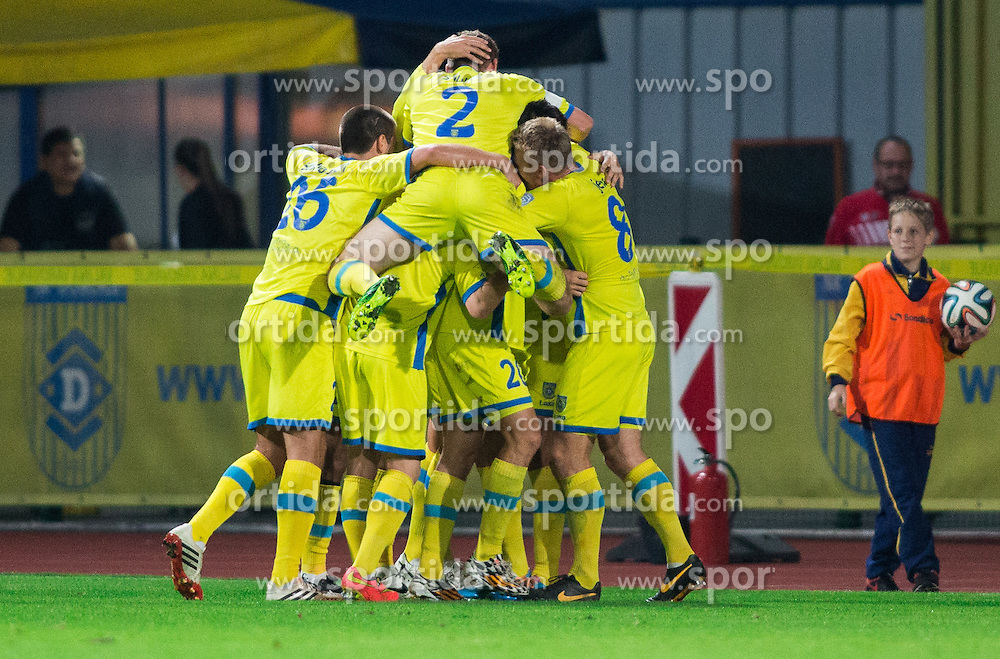 Players of Domzale celebrate after scoring second goal for Domzale during football match between NK Domzale and ND Gorica in 10th Round of Prva liga Telekom Slovenije 2014/15, on September 24, 2014 in Sports park Domzale, Slovenia. Photo by Vid Ponikvar / Sportida.com