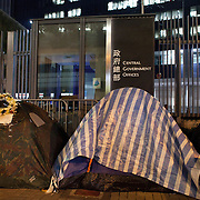 Tents outside the Central Government offices. The police have cleared the streets of protesters living in tents but a handfull of tents have been allowed to stay outside the Government building.