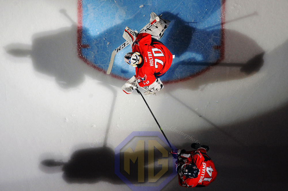 23 November 2015:  Washington Capitals goalie Braden Holtby (70) takes the ice at the Verizon Center in Washington, D.C. where the Washington Capitals defeated the Edmonton Oilers, 1-0.  (Photograph by Mark Goldman - Goldminephotos)