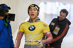 03.02.2017, Olympia Eisbahn, Igls, AUT, IBSF Weltcup, Igls, Skeleton, Herren, 2. Lauf, im Bild Sungbin Yun (KOR) // Sungbin Yun (KOR) reacts after his 2nd run of the mens's Skeleton competition of BMW IBSF World Cup at the Olympia Eisbahn in Igls, Austria on 2017/02/03. EXPA Pictures © 2017, PhotoCredit: EXPA/ Stefan Adelsberger