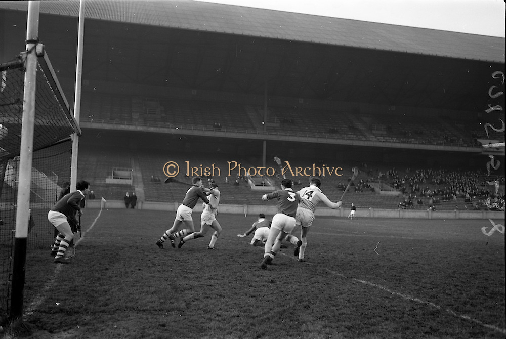 05/02/1967<br /> 02/05/1967<br /> 5 February 1967<br /> National Hurling League: Cork v Dublin at Croke Park, Dublin. <br /> Cork goalie, P. Barry (left), watches for the outcome of a tussel for the ball near his goalmouth.